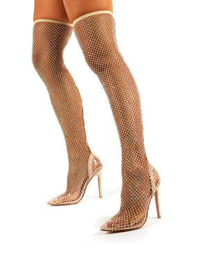 Deal Breaker Nude Diamante Fishnet Stiletto Over the Knee High Heels