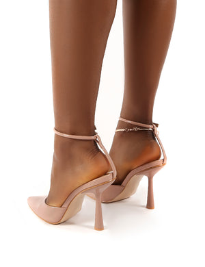 Decision Nude Patent Anklet Detail Court Heels
