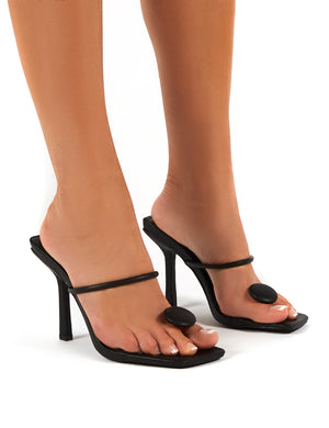 Kai Black Toe Post Square Toe Mule Heels