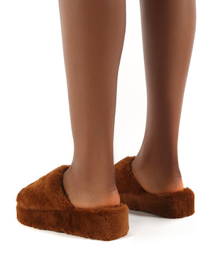 Snoozie Tan Faux Fur Chunky Platform Sole Sliders
