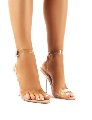 Highlight Nude Faux Suede Strappy Perspex Stiletto Heels
