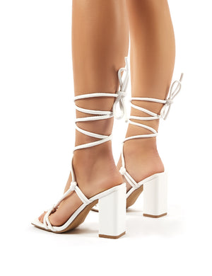 Lois Wide Fit White Strappy Lace Up Block High Heels