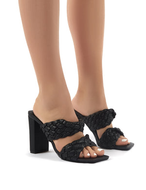 Raye Black Woven Twist Strap Block Heeled Mules