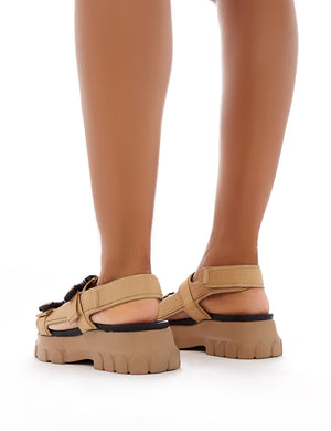 Undeniable Chunky Sports Sandals in Nude PU
