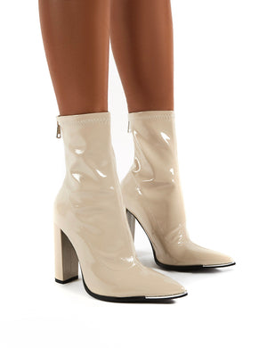 Affection Taupe Patent Wide Fit Block Heeled Ankle Boots