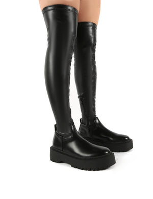Charly Black Pu Chunky Sole Over The Knee Boots