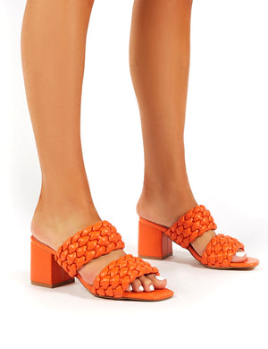 Chelsee Orange WF Block Heeled Mules
