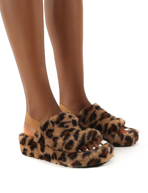 Dreams Leopard Strap Back Faux Fur Fluffy Slippers