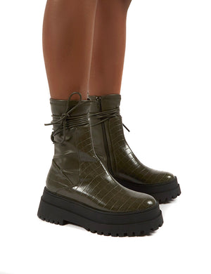 Finale Olive Chunky Sole Ankle Wrap Chunky Sole Boots