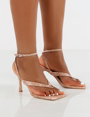Flamingo Snake Effect Toe Thong Strap Buckle Detail Mid Heels