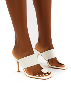 Forgiven White Toe Post Square Toe Wide Strap Mule Heels