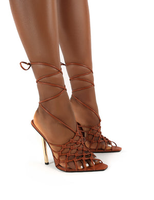 Hazie Tan PU Lace Up Stiletto Heels