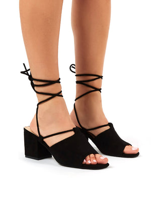 Heidi Black Faux Suede Lace Up Mid Heel