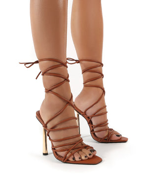 Illusion Tan Pu Lace Up Strappy Stiletto Heels