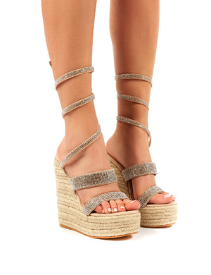 Lux Nude Wrap Around Diamante Wedged Heel