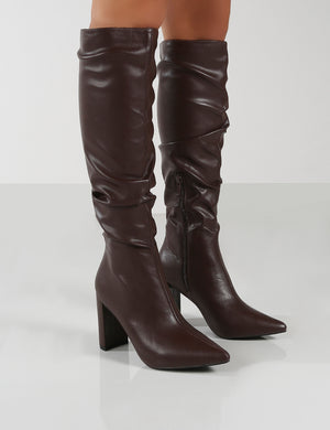 Mine Choc PU Knee High Boots
