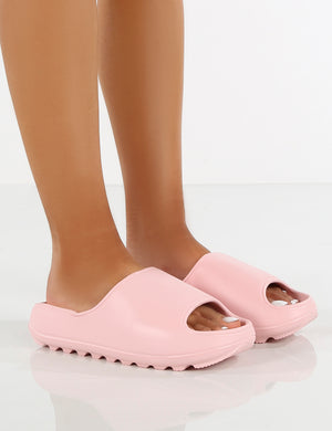 North Pink Rubber Ribbed Sole Sliders