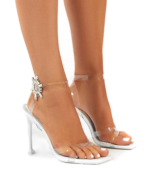 Pyramid White Perspex Diamante Detail Square Toe Heels