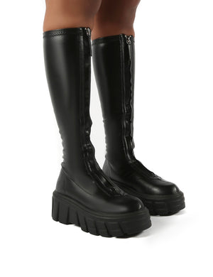 Quest Black Zip Up Chunky Sole Knee High Boots