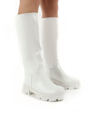 Sabrina White Knee High Chunky Sole Boots