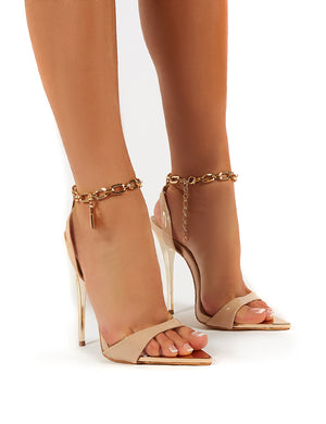 Triumph Wide Fit Nude Lock Chain Detail Anklet Strap Stiletto Heels