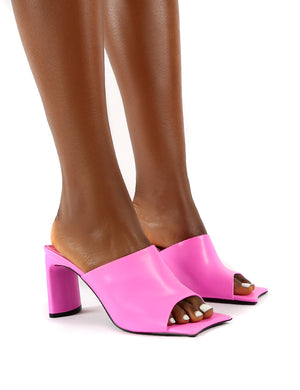 Vice Pink Pu Square Toe Detail Heeled Mules