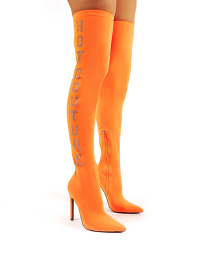 Authority Neon Orange Diamante Slogan Heeled Over the Knee Boots