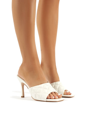 Bossy White PU Quilted Heeled Mules