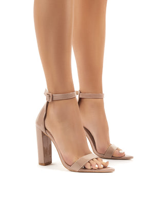 Miao Nude Patent Barely There High Heels