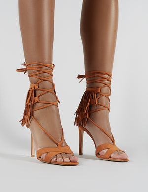 Montana Fringed Lace Up Heels in Tan Faux Suede