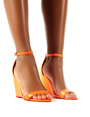 Nova Neon Orange Barely There Wedge Heels