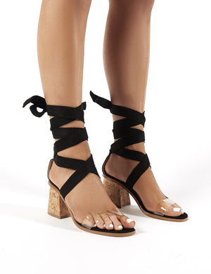 Vogue Black Faux Suede Lace Up Cork Block Heels
