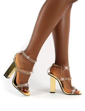 Celebrity Gold Wide Fit Diamante Chain Block Heels