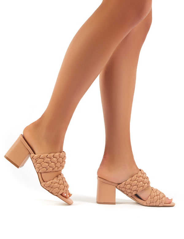 Nude Tube Strap Low Block Heel Mules   Shoes