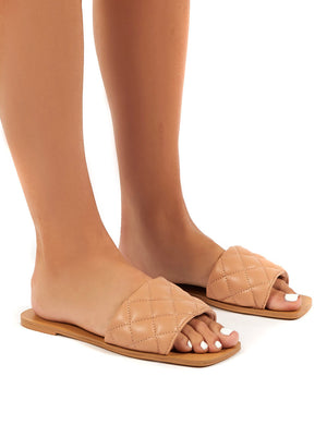 Cloud Nude Wide Fit Quilted Slider Sandal