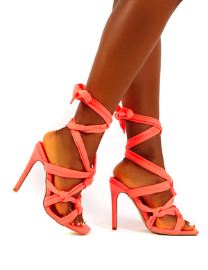 Convo Coral Neoprene Knotted Lace Up Stiletto High Heels