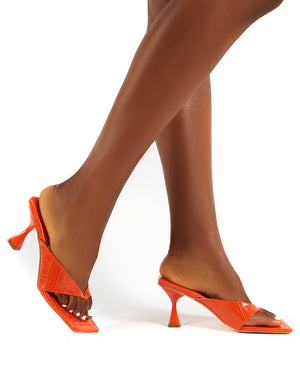 Harlie Orange Toe Post Square Toe Heeled Mules