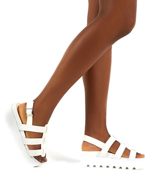 Coco White Pu Triple Strap Gladiator Platform Sandals
