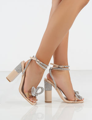 Kamila Nude Wrap Around Diamante Bow Square Toe Block Heels