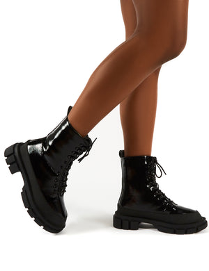 Mischief Black Patent Lace Up Chunky Sole Ankle Boots