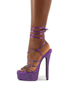 Rendezvous Purple Platform Square Toe Diamante Tie Ankle High Heels