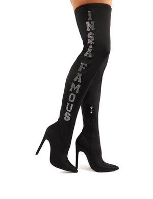 Authority Black Diamante Slogan Heeled Over the Knee Boots