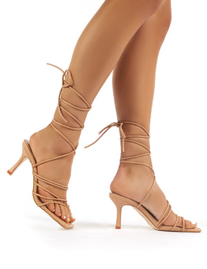 Cabo Nude Strappy Lace Up Square Toe Heels