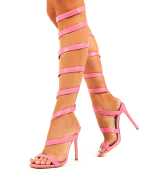 Naia Pink Spiral Wrap Around Stiletto High Heels