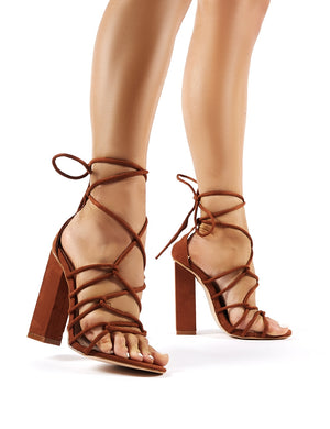 Camila Tan Faux Suede Lace Up Block Heels