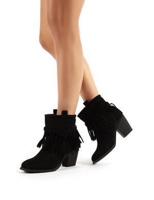 Jossa Black Faux Suede Fringed Heeled Western Ankle Boots