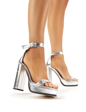 Rachael Silver Platform Block Heeled Barely Theres