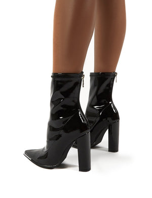 Affection Black Patent Wide Fit Block Heeled Ankle Boots