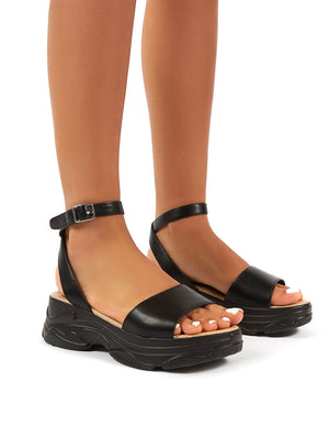 Loco Black PU Strappy Chunky Sandals