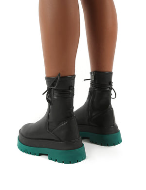 Finale Black Pu Green Chunky Sole Ankle Wrap Boots